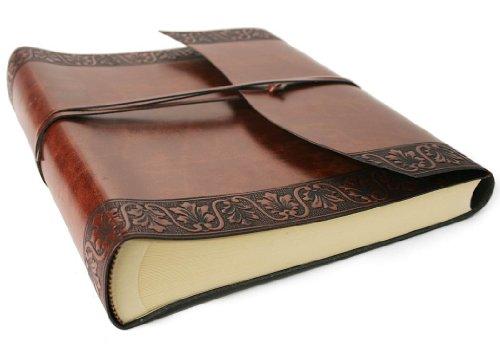 Brown Italienischen Leder Handgefertigt (Fiore Fotoalbum handgefertigt mit Einband aus recyceltem Italienisches Leder Haselnussbraun Large, klassisch Seiten (30cm x 24cm x 6cm))
