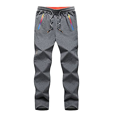 WALK-LEADER Mens Outdoor Jogging Running Pants Sport Trousers Grey 3XL