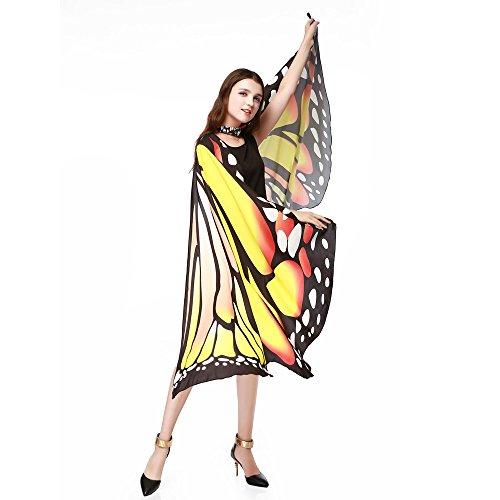 Damen Schmetterling Kostüm Cape Kimono Butterfly Wing Kostümzubehör Erwachsene Poncho für Show Daily Party Fasching Weihnachten Cosplay SSUDADY