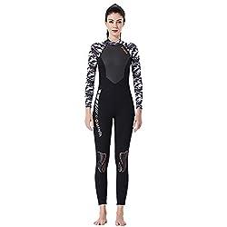 MIJIN Combinaison néoprène SCR, 3MM Surf Diving Suit Femme Maillot De Bain À Manches Longues Combinaison De Pêche Combi,A,L