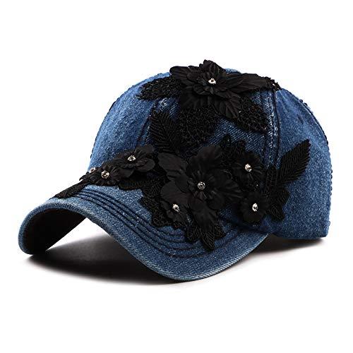 Schatten Denim Baseball Hat Frauen Blume Applique Jean Einstellbare Schirmmütze 6 Panel Floral Vintage Sun Hat Stilvoll (Color : 1, Size : Free Size) Applique Hat