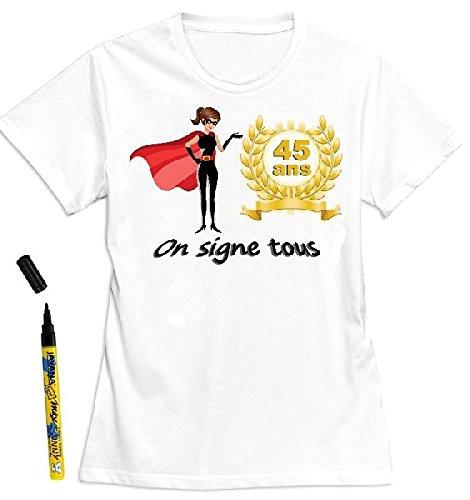 Mondial-fete - T-Shirt femme 45 ans à dédicacer - Taille S