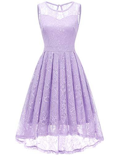 Gardenwed Damen Kleid Retro Ärmellos Kurz Brautjungfern Kleid Spitzenkleid Abendkleider CocktailKleid Partykleid Lavender XS (Lavender Lace Kleid)