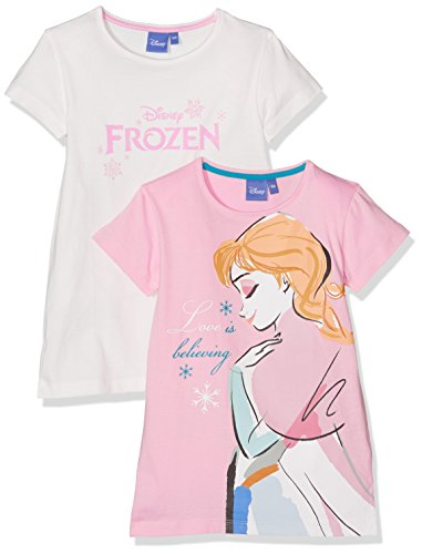 Tshirt Kurzarm Disney Frozen Die Eiskönigin 2er Pack, Mehrfarbig (Rosa+Weiß), 140 (Frozen T-shirts)