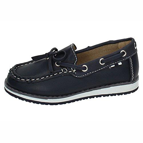 DEMAX NS598A-18 Zapatos NAÚTICOS NIÑO Zapatos MOCASÍN Marino 32