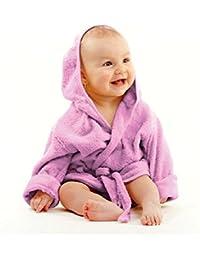 Baby weicher Frottee Bademantel mit Kapuze Gürtel und Knopf lila