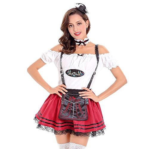 SuperSU Frauen Oktoberfest Kostüm Bayerisches Bier Mädchen Dirndl Taverne Maid Tops + Rock Set Damen Trachtenmode Kleid Wiesn Mädchen Knielang A Linie Vintage Ärmeln Regular Fit Für Party