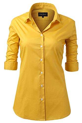INFLATION Damen Hemd mit Knöpfen Baumwolle Bluse Halbarm 3/4 Ärmelshirt Figurbetonte Hemdbluse Business Oberteil Arbeithemden Gelb 52/24
