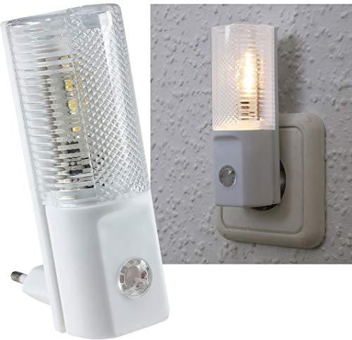 ChiliTec LED Nachtlicht Orientierungslicht mit Tag Nacht Sensor I Steckdose 230V I Schaltet bei Dunkelheit I 1 Stück I 1 Watt Licht Weiß -