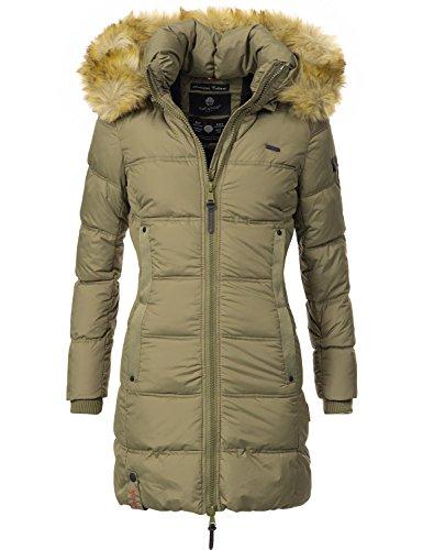 Navahoo Damen Mantel Steppmantel Wintermantel Quitscheente (vegan hergestellt) Grün Gr. L (Stück Lange Oberkörper Ein)