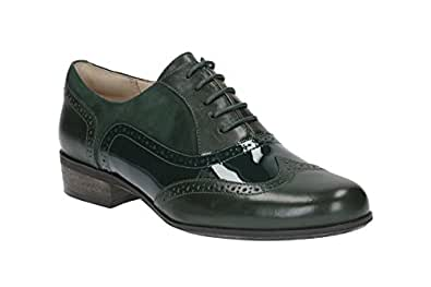 Clarks Women's Lace-Up Flats Wing Tip Brogue Shoes Hamble Oak Green Leather