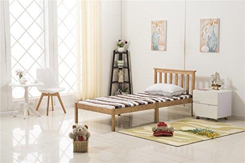 YAKOE 3FT Single Bed Frame Pine Wooden Finished Bedroom Furniture, Honey