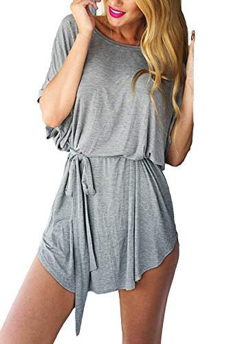 YOINS Sommerkleid Damen Tunika Tshirt Kleid Bluse Kurzarm MiniKleid Boho Maxikleid Rundhals Bindegürtel-Grau EU36-38 - Einfache Baumwolle Kleid