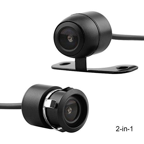 Caméra de sauvegarde de voiture 2-en-1 18.5mm Montage encastré Caméra arrière et support Montant couleur HD CMOS Caméra anti-retour Caméra avant étanche CAM (CL1103D2in1)