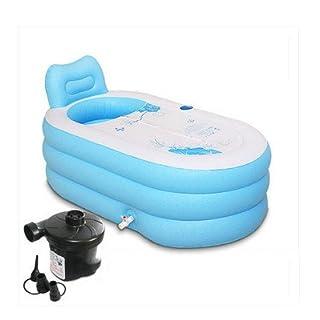 MBJZ Shower and Bath and a warm bath bucket inflatable bathtub thick adult bath tub, blue,150*88*73cm