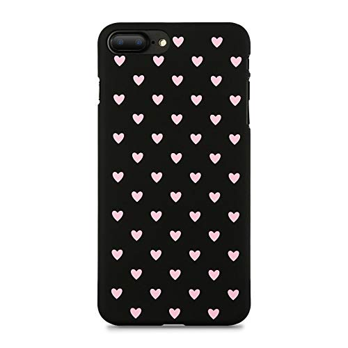 XMDSJKGC Fundas Caja Estuche para iPhone 7 7 Plus 8 8 Plus Estuche Hard Mate Chic Polka Dot Wave Point para iPhone X XS MAX XR 5 6 6S Plus, Corazón Rosa Negro, para 6 Plus 6S Plus