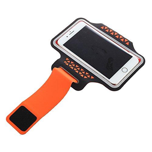 SODIAL Sac de Bras de Telephone DE 5.2 Pouces la Couleur Orange & Fitness pour iPhone 5 / 5S 5C 6/6 s 7/7 Plus Samsung Galaxy S5 S6 S7 Bord S8 S8 Plus Huawei etc