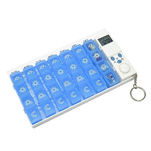 Monllack 28-Zellen-Timer für elektronische Medikamentenbox Multifunktionale Medikamentenbox-Timer-Erinnerungen Zufällige Farbe -