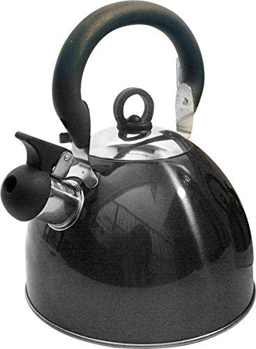 Home schnurlose Leuchte Edelstahl 2,5l Gewicht Flötenkessel mit traditionellem/Retro Auslauf für Herd oder Herdplatte–Metallic Schwarz–von Guilty Gadgets