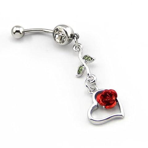 BODYA 316l Chirurgische Stahl 14g Kristallrote Rose mit Blatt Herz Nabel Ring Bauch Bar Button + Halterung