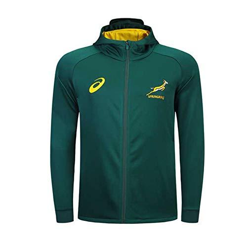 YHANS Rugby-Spieltrikots für Herren2018-19 Südafrika Rugby Jacke Trikots, Männer Trainings Jersey Polo-Shirt Langarm-Tops Männer Casual Sakko Fußball Kleidung,Grün,L