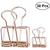 YeahiBaby Binder Clips Retro Hollow Metal Paper File Bill Wire Clamp Organizer Two Size 30 Pcs