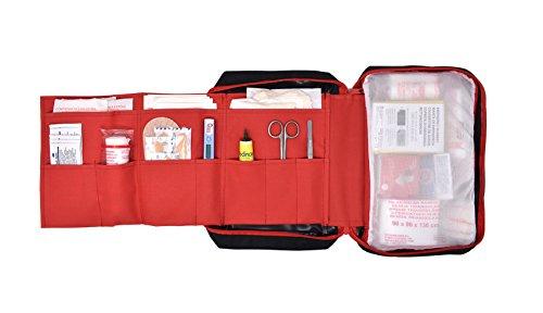 41VMeD15VqL - Botiquín de primeros auxilios PREMIUM con 120 artículos (incluye termómetro, manta de emergencia, suero fisiológico, etc)