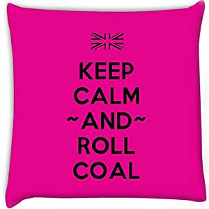 Snoogg Keep Calm And Roll Coal Digitally Printed Cushion Cover Pillow 24 x 24 Inch