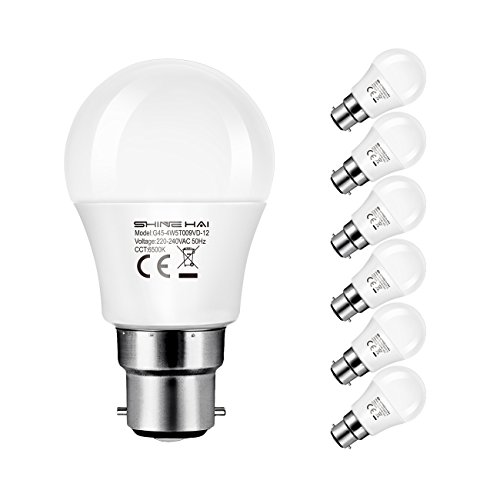 SHINE HAI B22 LED Bayonet Light Bulbs 40W Equivalent, 4.5W G45 Frosted Golf Ball Bulbs, Cool White(6500K), 350Lm, Non-Dimmable, Bayonet Light Bulbs, Energy Saving Light Bulbs, 6-Pack