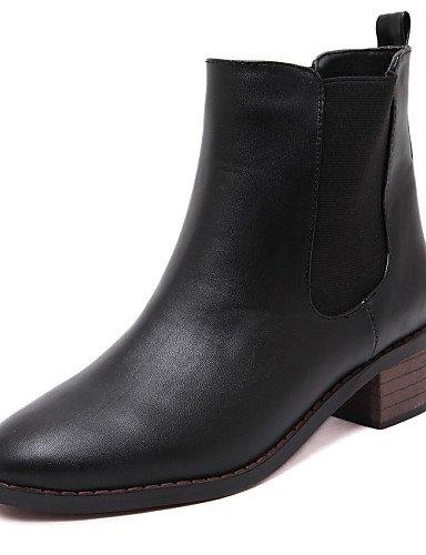 xzz/Damen Schuhe Patent Leder Chunky Heel Comfort Spitz Toe Stiefel party und Kleid Mehr Farben erhältlich, white-us8.5 / eu39 / uk6.5 / cn40