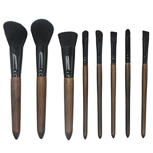 Brosse de maquillage, 8Pcs / Set Bois de santal Brosse de maquillage Poudre de mélange Fard à paupières Contour Concealer Beauté Brosse de fibre cosmétique Portable Tool Kit 2Color