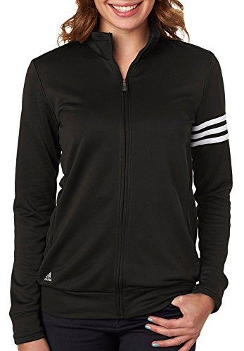 Adidas Damen-3-Streifen Full Zip Pullover Jacke, damen, schwarz / weiß Full Zip Nylon Windbreaker
