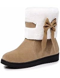 Winter bow scrub botas botas encantadoras mujeres estudiantes,Apricot,38