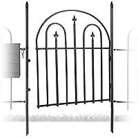 Relaxdays Grille de jardin clôture porte en métal GOTH avec 2 poteaux design antique ancien 120 cm de hauteur 90 cm de largeur, noir