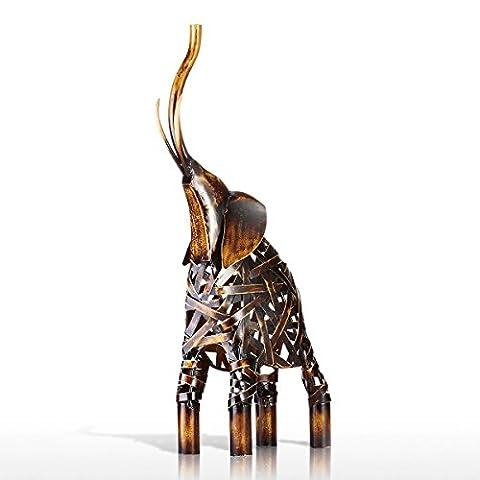Tooarts Moderne Kunst Skulptur Dekofigur Deko Objekt Statue Dekoartikel aus Eisen Weben Elefant 19x8x43cm