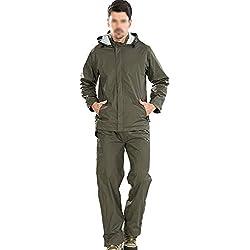 Gabardina Impermeable con Cuerpo Dividido de los Hombres Gafas de Lluvia Impermeables con Capucha Pantalones de Lluvia Impermeable con Capucha Chubasqueros (Color : Army Green, Tamaño : Metro)