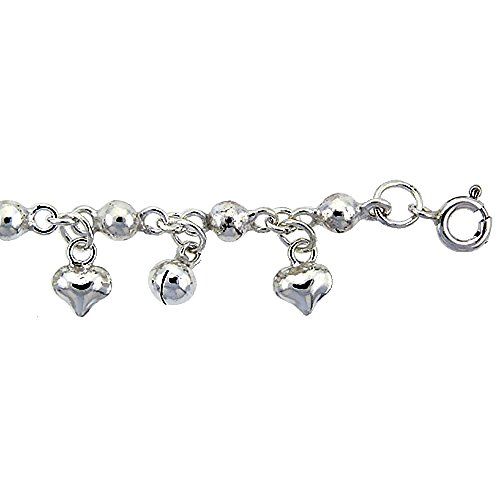 Revoni Sterling Silver Anklet w/ Beads, Hearts & Chime Balls