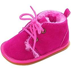 CHENGYANG Bambino Inverno Caldo Scarpe Morbida Suola Prewalkers Neonate Stivali Scarpine Prima Infanzia (Rose#22, 13cm)