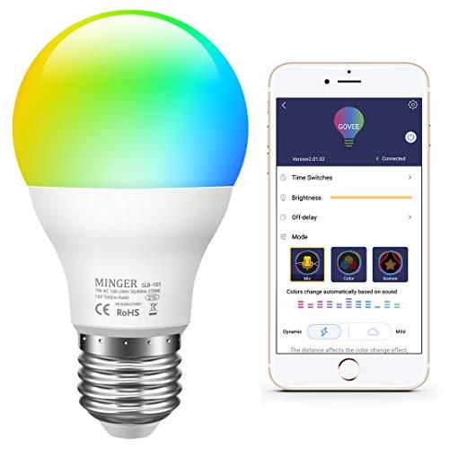 Govee LED RGB Lampe, dimmbare 7W E27 RGB+W Sync mit Musik farbwechsel Glühbirne mit APP | dimmbar mehrfarbige Leuchtmittel für Haus Dekoration, Bar, Party, KTV Bühne, Feiertag, Bettlampe (Sound Bars Bluetooth)