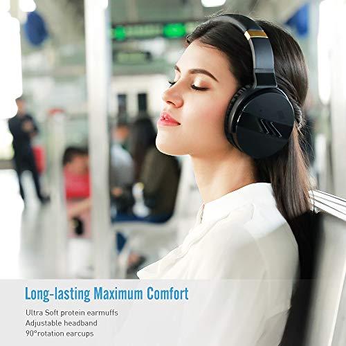 Meidong Duale Aktive Noise Cancelling Kopfhörer Bluetooth, Noise Cancelling Headphone overear Kabellose Kopfhörer mit Mikrofon HiFi Stereo Deep Bass Gemütlich Earpads bis zu 20 Std [Schwarz] - 9
