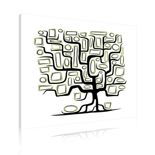 Akustikbild AbsorPic Grafik Motiv Baum002 - Farbe Schwarz/Grün | Premium Breitband Schall Absorber verbessert die Raumakustik | 50 x 50 x 3cm | viele Größen+Farben - Made in GERMANY, Köln