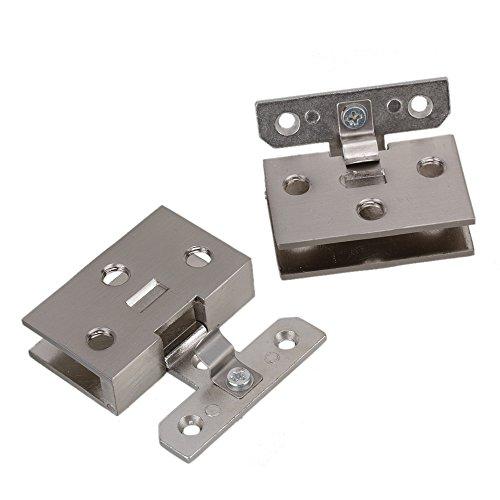41VMiBK 4SL - BQLZR plata tono acero inoxidable Gabinete de cristal puerta bisagra de metal cromado que se ajusta a de pared para 10 mm Espesor puerta 2 unidades