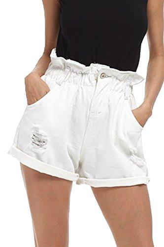 yulinge Women Jeans Elastic Waist Ripped Denim Shorts Plus Size with Pocket