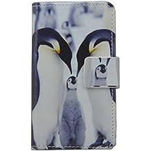 Vodafone Smart 4max Case [lápiz capacitivo], lujo Wallet Titular De La Tarjeta cierre magnético Funda de piel para Vodafone Smart 4max (diseño de pingüino)