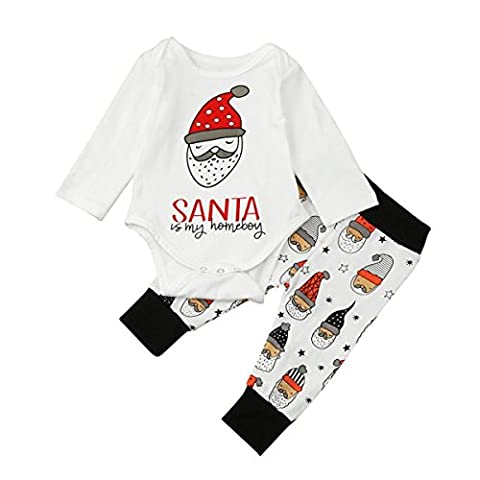 AmazingDays BéBé Garçon Fille Tops + Santa Pants Set de vêtements pour tenues de Noël (18 mois, blanc)