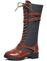 VECDY Damen Schuhe,Räumungsverkauf- Herbst Frauen Damen Schuhe Denim Roman Reiten Kniehohe Cowboystiefel Martin Lange Stiefel Elegante Cowboystiefel Lange Martin Stiefel High Heels(schwarz,40)