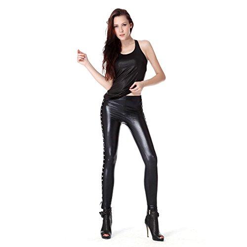 Metallic-lycra-gewebe (Rubberfashion Glanz Leggings, glänzende Leggin metallic mit seitlicher Schnürung bis zur Hüfte für Frauen und Mädchen Menge: 1 Stück standard M)