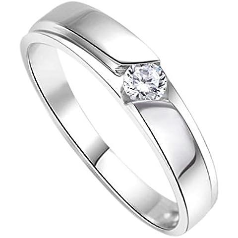 DEHANG Anillo de Plata de Pareja Mujer Hombre con Circonitas Diamantes de Compromiso Alianza Boda Aniversario regalo San Valentín Amor - talla 9 12 14 17 19 22 - con caja de