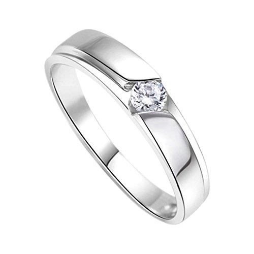 DEHANG Anillo de Plata de Pareja Mujer Hombre con Circonitas Diamantes de Compromiso Alianza Boda Aniversario regalo San Valentín Amor - talla 17 - con caja de regalo