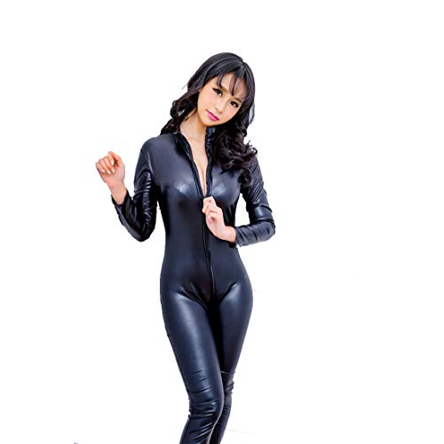 Catwoman Dress Up Kostüm - Catwomen Jumpsuit-PU Leder Black 4 Way Zip PVC Spandex Glänz Catwoman Catwoman Kostüm Party Outfit Dress up Cosplay Tight Bodysuit